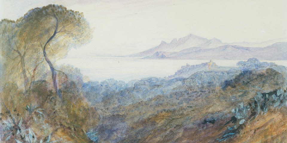 Edward Lear (British, 1812-1888) A view of Cannes (Sold together with a letter from the artist.)