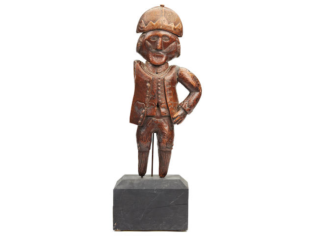 Folk Art: An interesting 18th century carved fruitwood figure, possibly a trade or shop sign