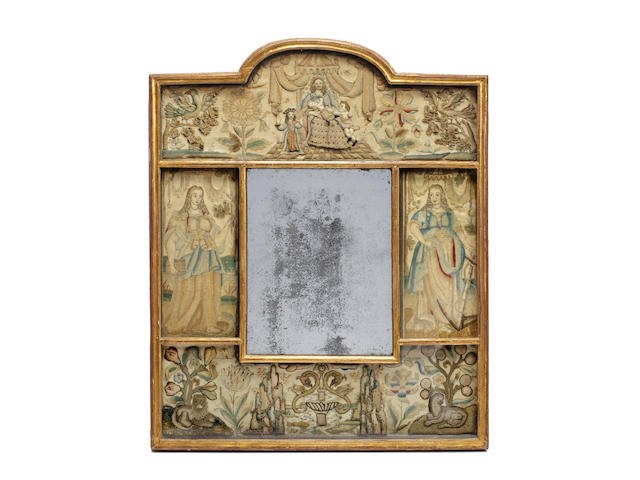 A Charles II needle and stumpwork mirror, circa 1660, of The Three Theological Virtues