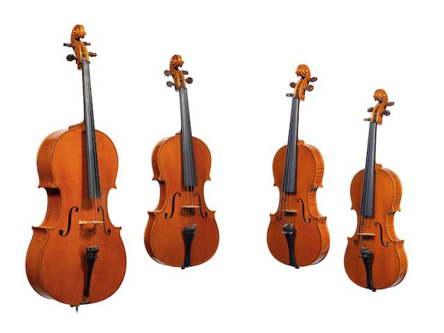 A rare String Quartet by Cesar Castelli, Asculi in Piceno 1969 comprising a Violoncello, A Viola and Two Violins (4) (8)