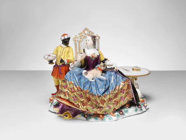 A Meissen crinoline group of a seated lady with servant, circa 1737-40
