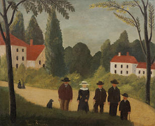 Henri Le Douanier  Rousseau (French, 1844-1910) Les promeneurs (Painted in 1891)
