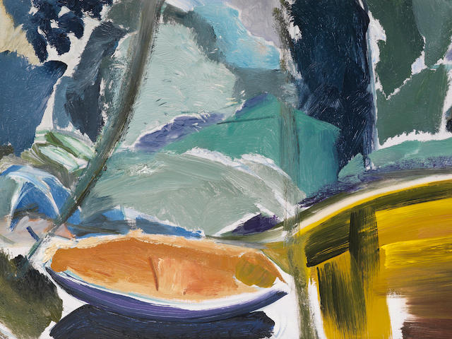Ivon Hitchens (British, 1893-1979) Lake Corner with a Boat 43.2 x 109.2 cm. (17 x 43 in.)