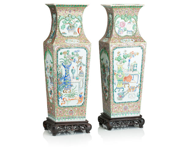 A large pair of famille rose vases 19th century