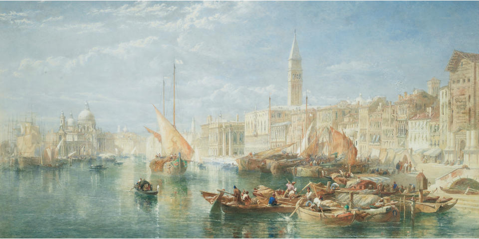 Edward Angelo Goodall, RWS (British 1819-1908) A view of the Grand Canal, Venice