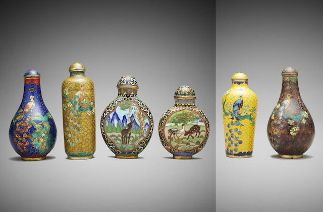 Six Chinese cloisonne snuff bottles Late Qing Dynasty Late Qing Dynasty (6)