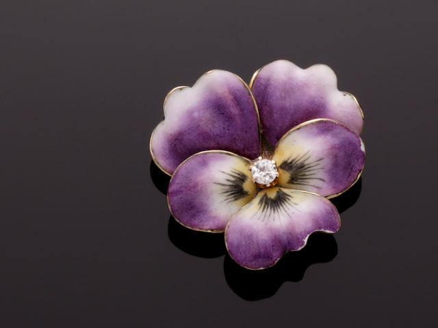 An enamel and diamond set pansy brooch/pendant