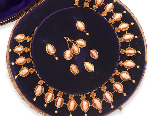 A Victorian cowrie shell fringe necklace
