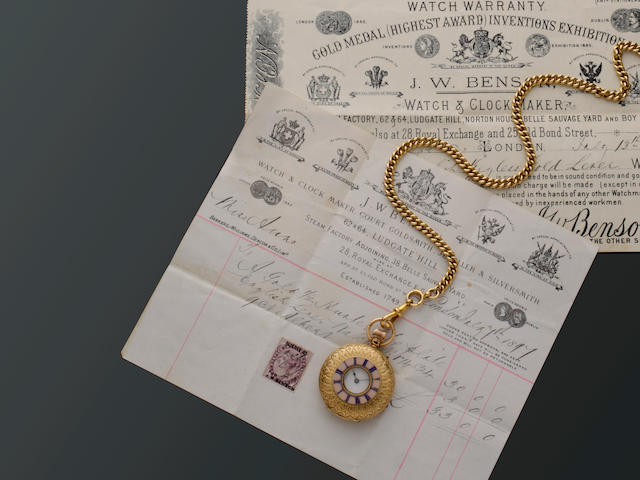 J W Benson: A late Victorian 18ct gold half hunter fob watch, an Albert chain and three pendants (5)