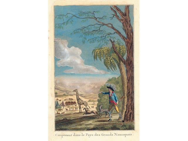 LEVAILLANT (FRANCOIS) Voyage dans l'intérieur de l'Afrique par le Cap de Bonne-Espérance, dans les années 1780, 81, 82, 83, 84 & 85, 2 vol. in 1, 1790; Second voyage dans l'intérieur de l'Afrique... dans les années 1783, 84 et 85, 2 vol., [1796], FIRST EDITIONS (3)
