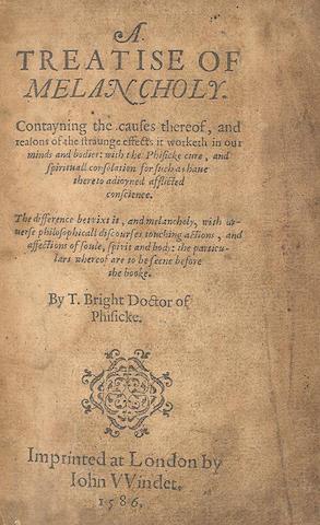 BRIGHT (TIMOTHY) A Treatise of Melancholy, John Windet, 1586