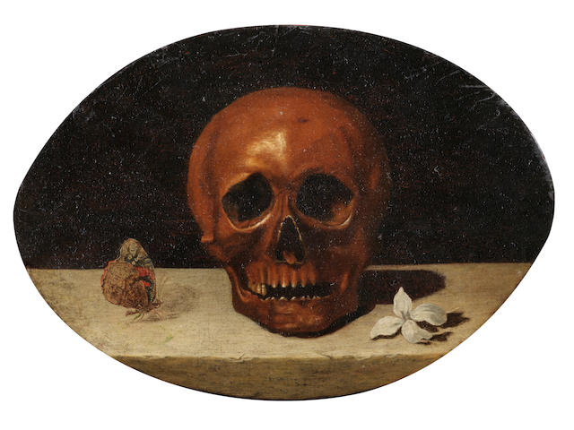 French School, 17th Century Vanitas still life with a skull and a butterfly unframed