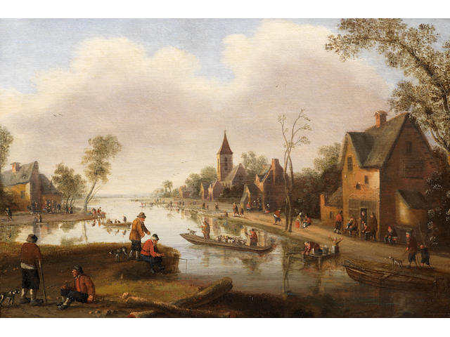 Cornelis Droochsloot (Utrecht 1640-circa 1673) A river landscape with figures outside an inn and fishermen in boats, a town beyond