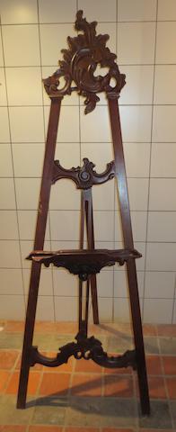 An ornate wooden easel,