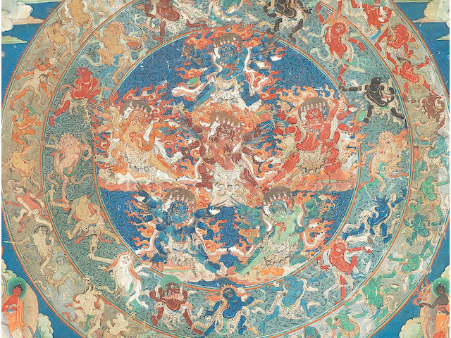 A Tantric Tibetan or Himalayan Thangka 19th century or earlier