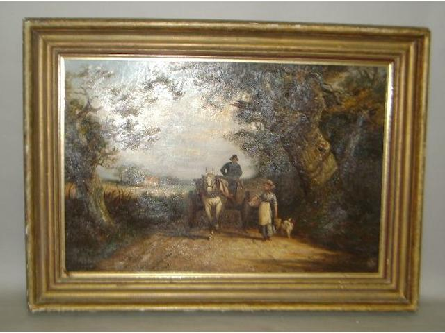 Follower of John Joseph Barker of Bath (British, 1824-1904) Figures, horse and cart on a country lane