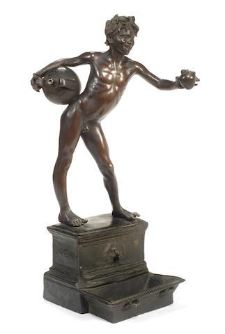 Vincenzo Gemito (Italian, 1852-1929): A bronze figure of a boy L'Acquaiolo
