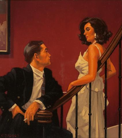 Jack Vettriano OBE Hon LLD (British, born 1951) Shades of Scarlett (Study) 45.5 x 40.5 cm. (17 15/16 x 15 15/16 in.)