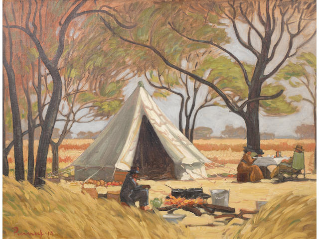 Jacob Hendrik Pierneef (South African, 1886-1957) The bush camp of Anton van Wouw, Rooiplaat