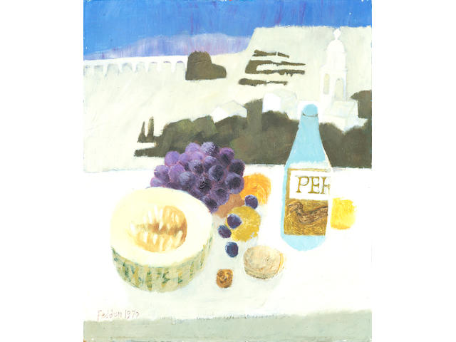 Mary Fedden R.A. (British, 1915-2012) Still life with fruit and a bottle unframed