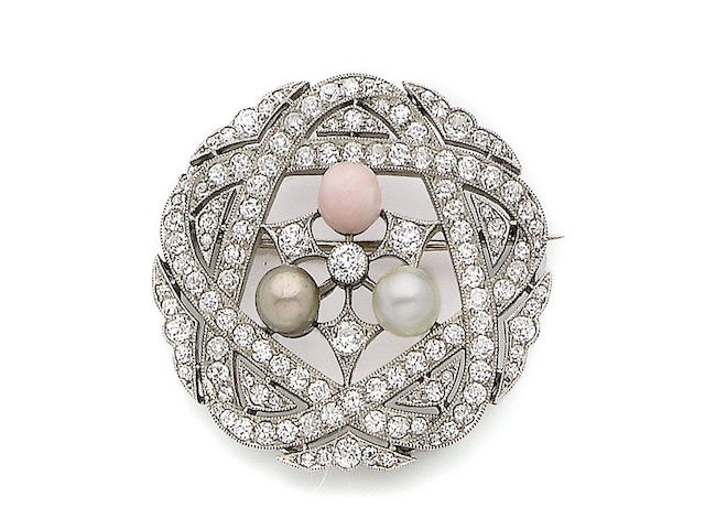 A conch pearl, pearl and diamond brooch,