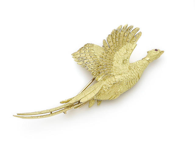 A pheasant brooch, by Hermes