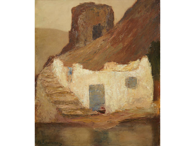 Michalis Economou (Greek, 1888-1933) Old mill in Hydra 81 x 69.5 cm.