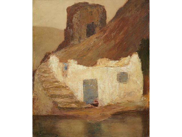 Michalis Economou (Greek, 1888-1933) Old mill in Hydra 81 x 69.5 cm.