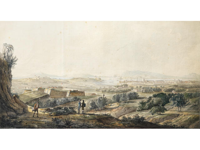 Jean-Rodolphe Gautier (Geneva 1764-1820 Paris) A view of Toulon from the Fort d'artigues (bears inscription 'Vue de Toulon/ prise au dessins du Fort d'artigues/ par Gautier/ Marseille (on verso))