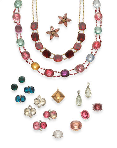 A collection of Georgian coloured paste jewellery
