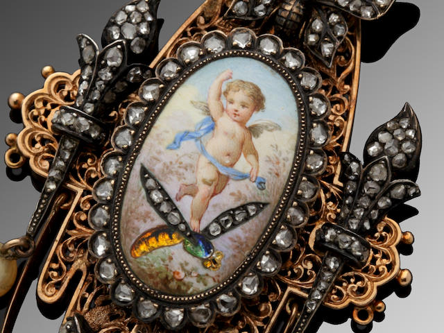 A 19th century diamond and enamel pendant