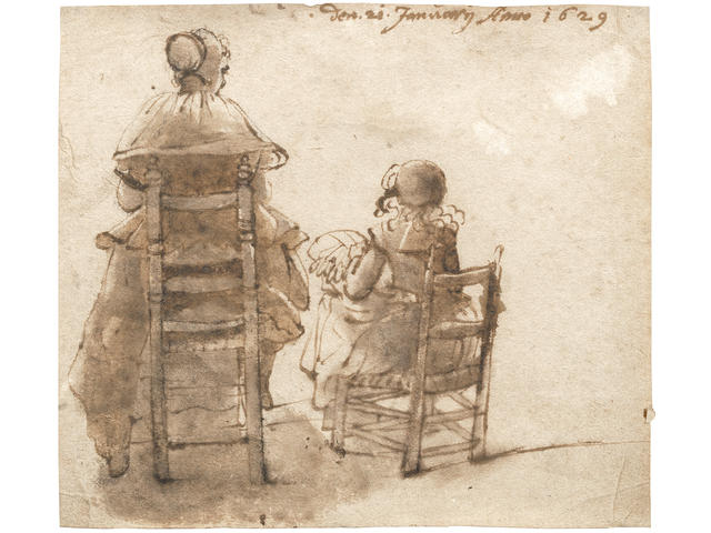 Dutch School, 1629 A lady and girl, seated, making lace