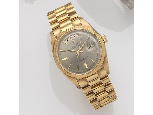 Rolex. An 18ct gold automatic calendar bracelet watch Day-Date, Ref:1803, Serial No.175****, Movement No.DD9*****, Circa 1967