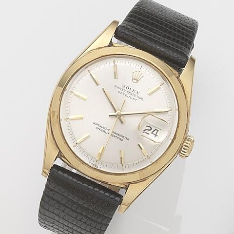 Rolex. A gold plated and stainless steel automatic calendar wristwatch Datejust, Ref:1600, Serial No.163****, Movement No.D46***, Circa 1967