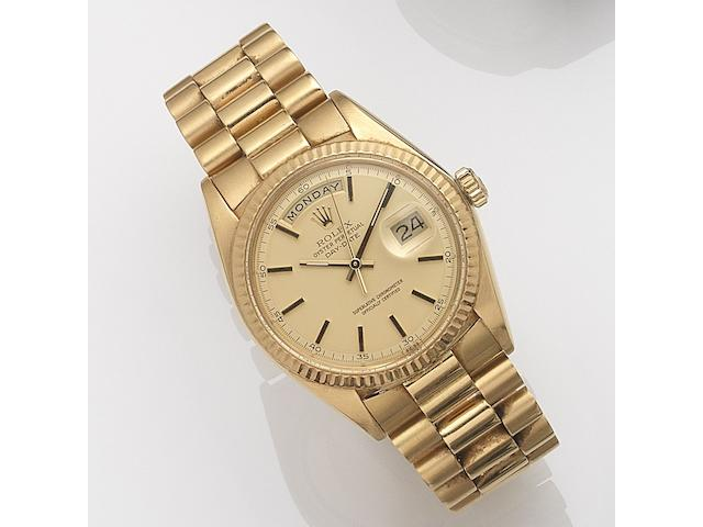 Rolex. An 18ct gold automatic calendar bracelet watch Day-Date, Ref:1803, Serial No.367****, Movement No.DD5*****, Sold 6th June 1975
