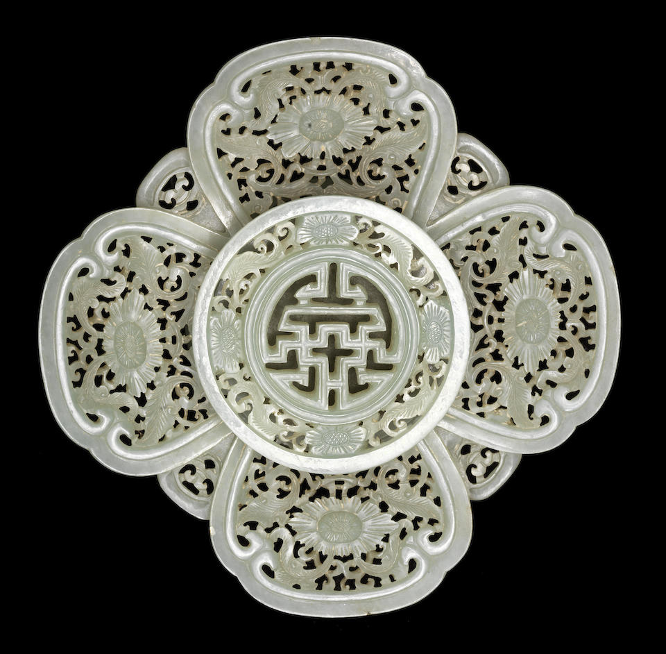 A rare pale green jade Mughal-style bowl and stand 18th century (2)