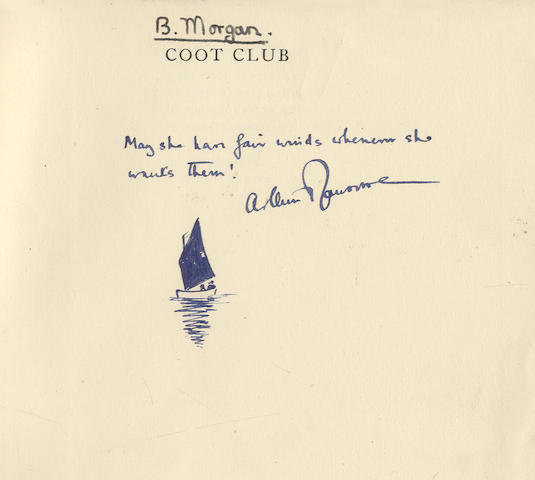 """RANSOME (ARTHUR) Coot Club, FIRST EDITION, AUTHOR'S PRESENTATION COPY WITH AN INK DRAWING BENEATH THE INSCRIPTION """"May she have fair winds whenever she wants them!"""", Jonathan Cape, [1934]"""