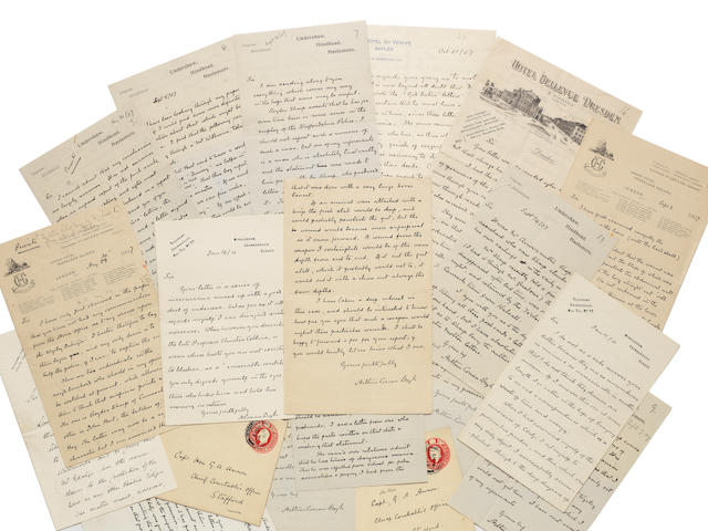 "DOYLE (ARTHUR CONAN) Series of thirty autograph letters relating to the Edalji Case, signed (""Arthur Conan Doyle""),the majority to Captain The Hon G. A. Anson, Chief Constable of Staffordshire; with a large quantity of material relating to the case"