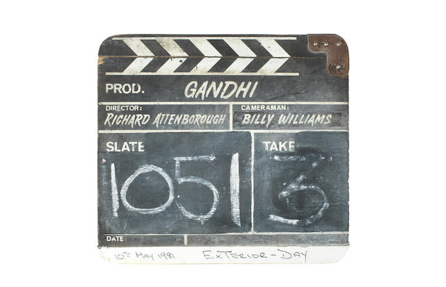Gandhi: a wooden clapperboard used during the production, Columbia Pictures, 1982,