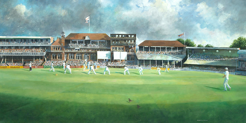 Sherree Valentine-Daines (British, born 1956) The Ashes 1985, Gower and Goch Batting