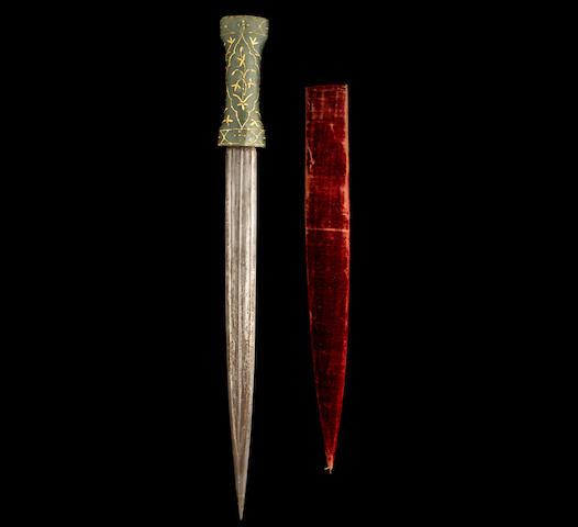 An Ottoman jade-hilted watered steel Dagger Turkey, 18th/ 19th Century(2)