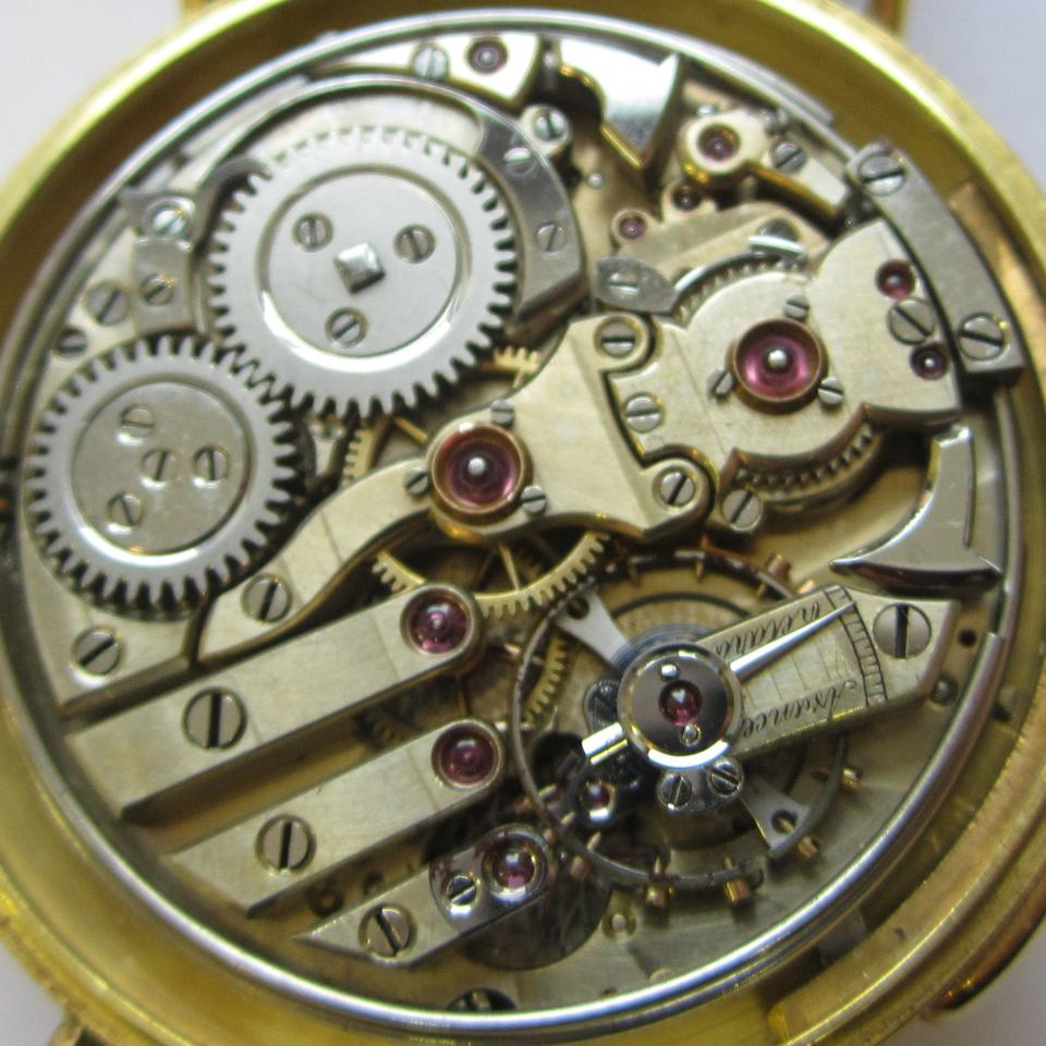 Swiss. An 18ct gold manual wind minute repeating wristwatch Case No.70522, Circa 1920