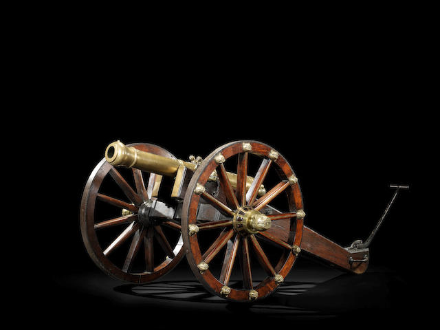 A rare 3-pounder bronze Cannon with field carriage from the Gun Carriage Manufactory at Seringapatam Mysore, late 18th Century