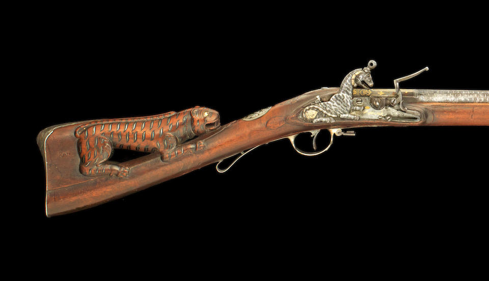 A magnificent two shot superimposed-load silver-mounted Flintlock Sporting Gun from the personal armoury of Tipu Sultan, by Asad Khan-e Muhammad Seringapatam, dated Mawludi 1222/ AD 1793-94