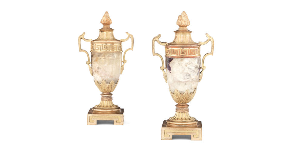 A pair of George III Blue John and gilt bronze candlesticks (2)