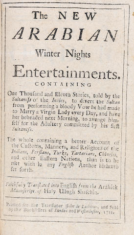 ARABIAN NIGHTS The New Arabian Winter Nights Entertainments... Faithfully Translated into English from the Arabick Manuscript of Haly Ulugh Shaschin, Part 1 [?all published], SCARCE, 1711; bound with 24 others including Cyder poem