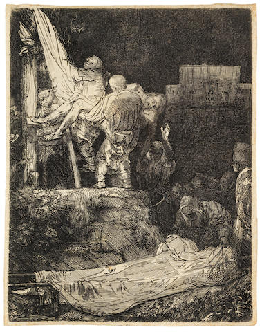 Rembrandt Harmensz van Rijn (Dutch, 1606-1669) The Descent from the Cross by Torchlight Etching and drypoint, 1654, New Hollstein's third state of four, the shadows reworked with diagonal hatching in upper right corner and to left of rectangular space of the building on the right, on laid, with narrow margins, 210 x 161mm (8 1/4 x 6 3/8in)(PL)