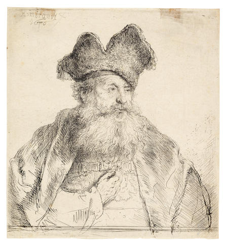 Rembrandt Harmensz van Rijn (Dutch, 1606-1669) Old man with a divided fur cap Etching and drypoint, 1640, a good impression of New Hollstein's first state of two, with the slipped stroke next to his left eye running from the cap edge to his left cheek, with burr on the cape at the right, on japan laid, with a partial Arms of Amsterdam watermark, trimmed to platemark, 150 x 139mm (5 7/8 x 5 1/2in)(PL)
