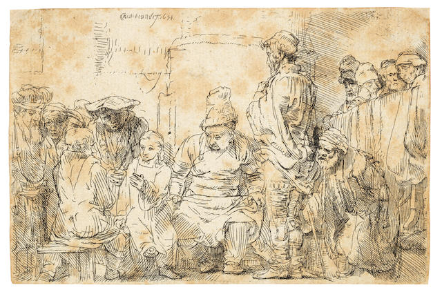 Rembrandt Harmensz van Rijn (Dutch, 1606-1669) Christ seated disputing with the doctors Etching, 1654, the only state, on laid, trimmed to or along the platemark, 95 x 146mm (3 3/4 x 5 3/4in)(SH)