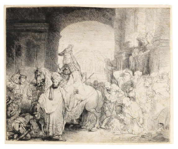 Rembrandt Harmensz van Rijn (Dutch, 1606-1669) The Triumph of Mordecai Etching and drypoint, circa 1641, New Hollstein's third state of four, with additional shading on the horse's left hind leg, on laid, trimmed to or along the platemark on three sides and just inside the upper edge, 172 x 214mm (6 3/4 x 8 1/2in)(SH)